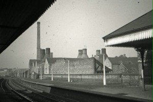 BERT BENTLEY ARCHIVE - LONGTON - 1963/64 - Railway Station , view toward Foley Crossing. Subsidence crack to right of station.